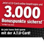 ATU Card kostenlos mit Bonuspunkte